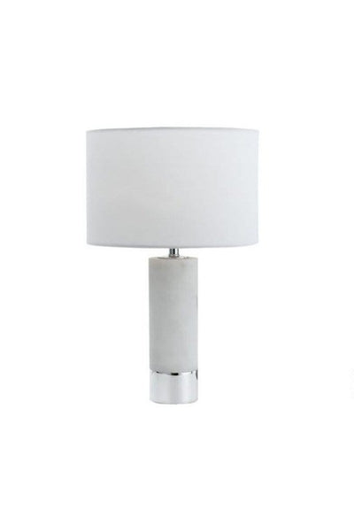 Marble table lamp with white with chrome trim