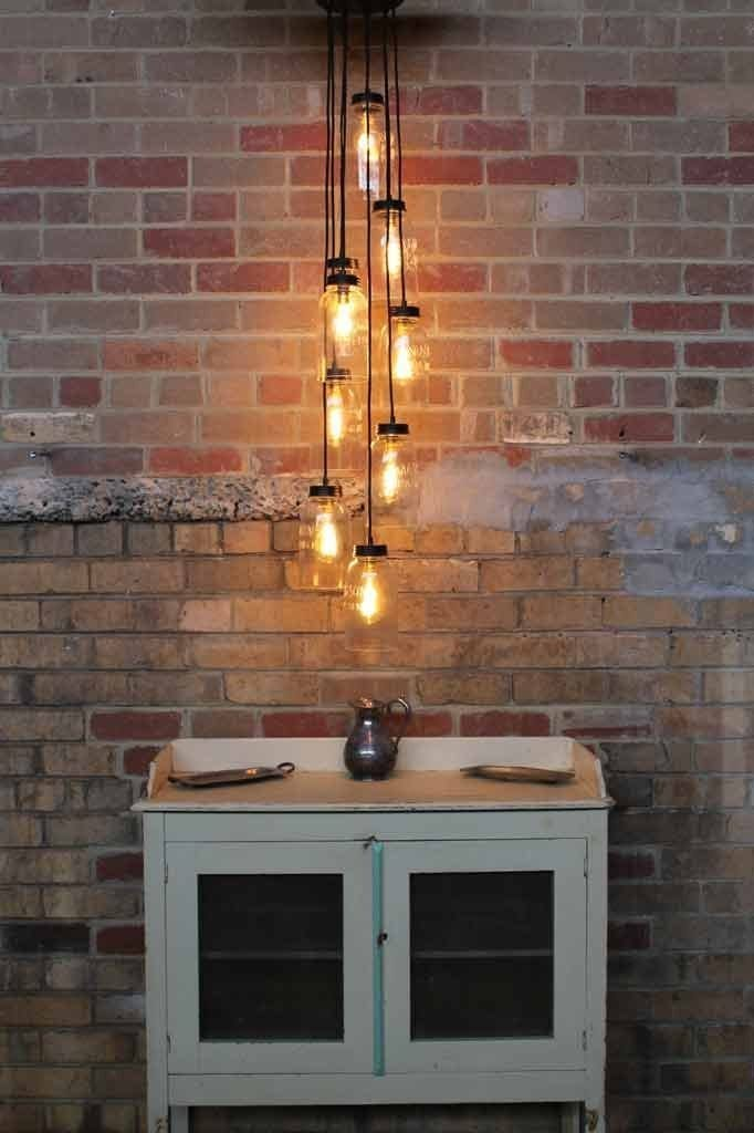 Mason jar lights nine light chandelier