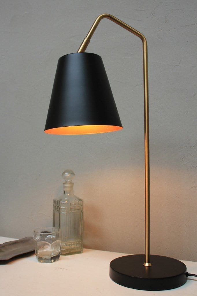 Matt black table lamp. mid century modern lighting. mid century modern design
