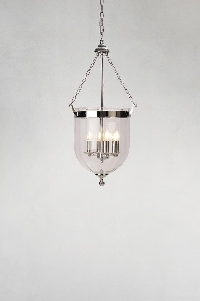 Medium float glass lamp pendant light with chrome finish
