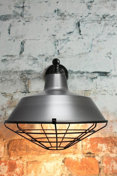 Metal black cage cover with steel wall light