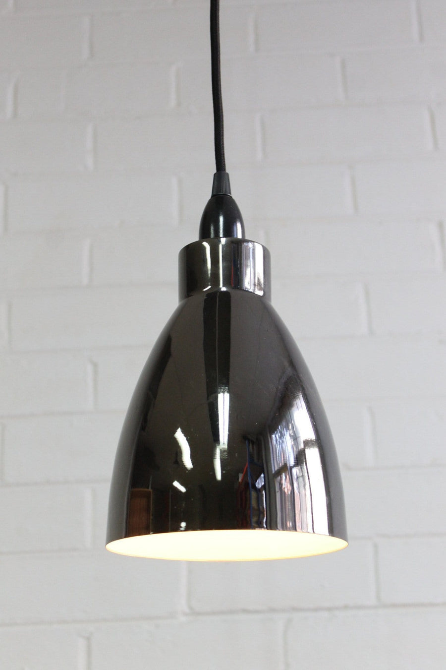 Metal retro bell shaped shade pendant light in chrome finish
