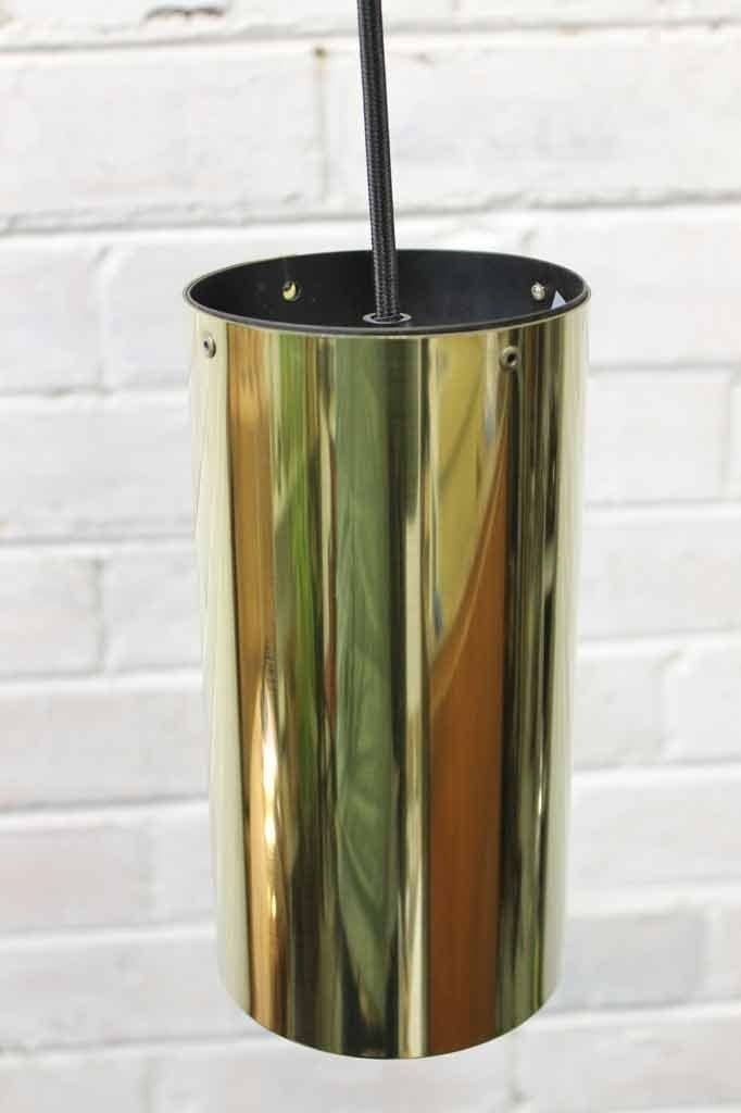 Metallic pendant light in a brass finish. industrial lighting by fat shack vintage