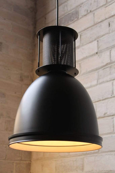 Mill pendant light has a white inner