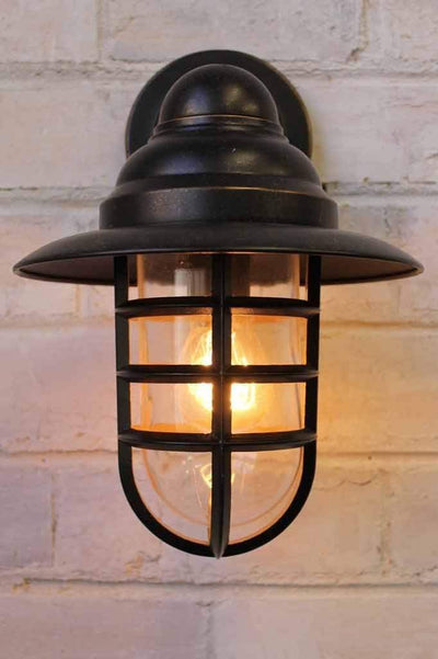 Miner outdoor wall light inspired by a miners lantern