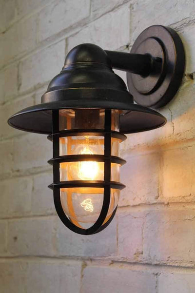 Miner outdoor wall light with led light bulb
