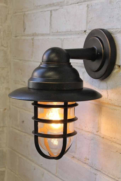 Miner outdoor wall light with edison filament bulb