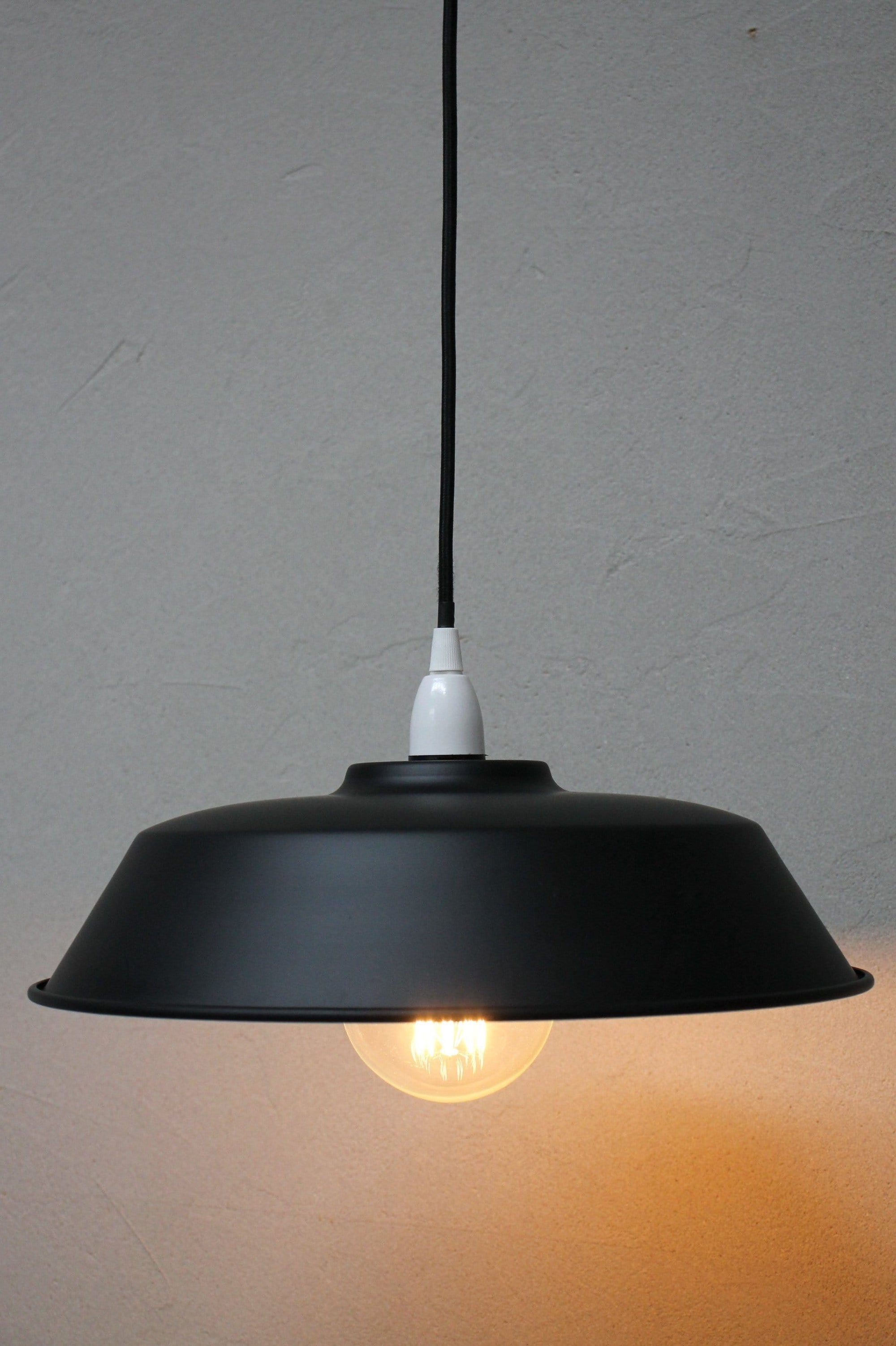 Modern industrial pendant light. Matt black with white features pendant light