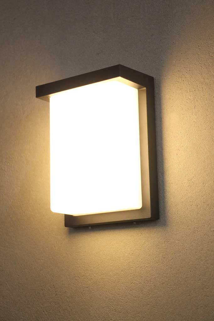 opal shade wall light with black frame