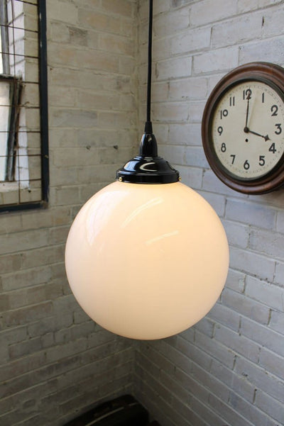 Opal glass ball light in cafe setting 12inch opal ball 8