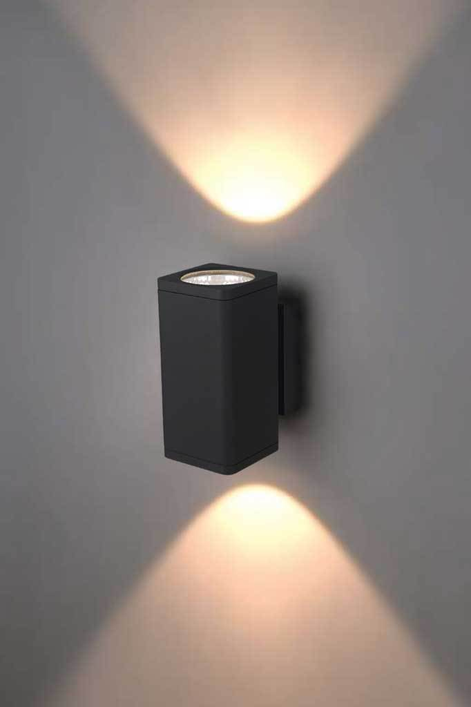 Outdoor cylinder up down square wall light in black