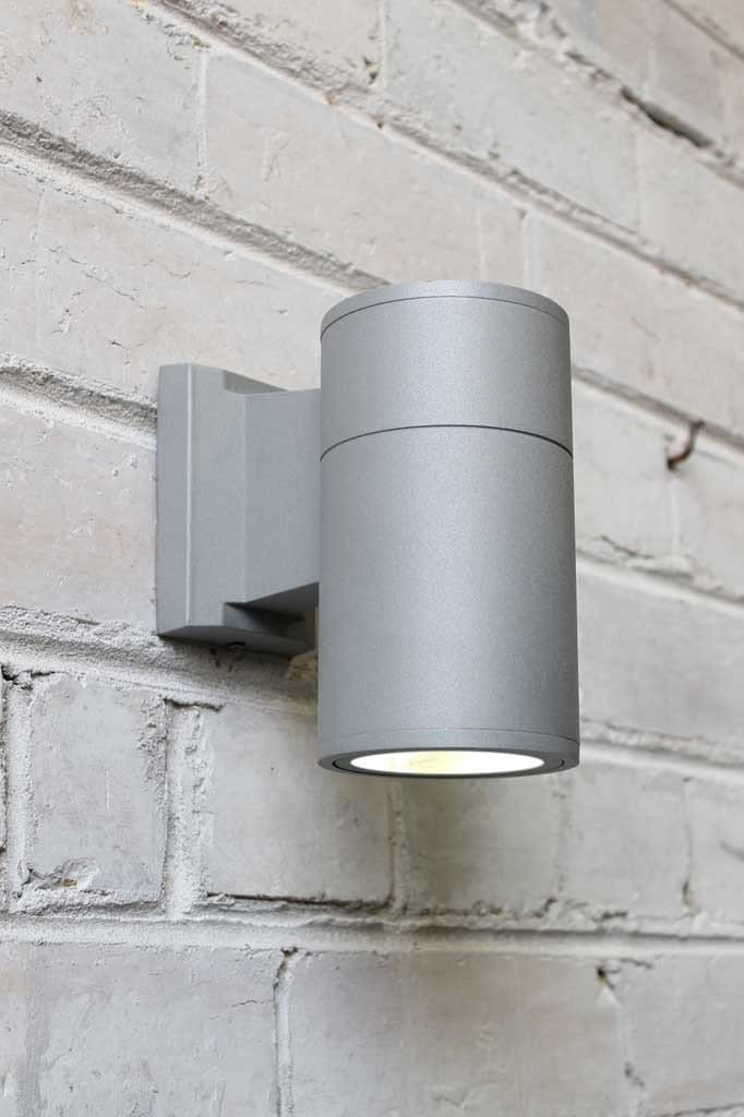 Outdoor cylinder wall light in grey