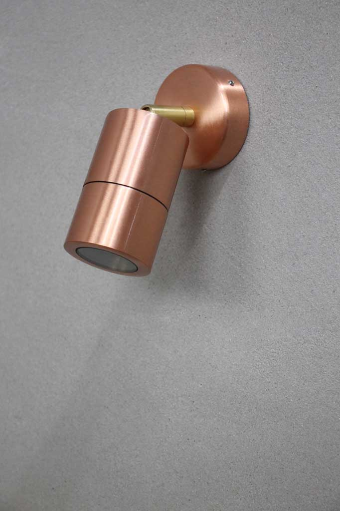 Outdoor LED adjustable polished copper wall light