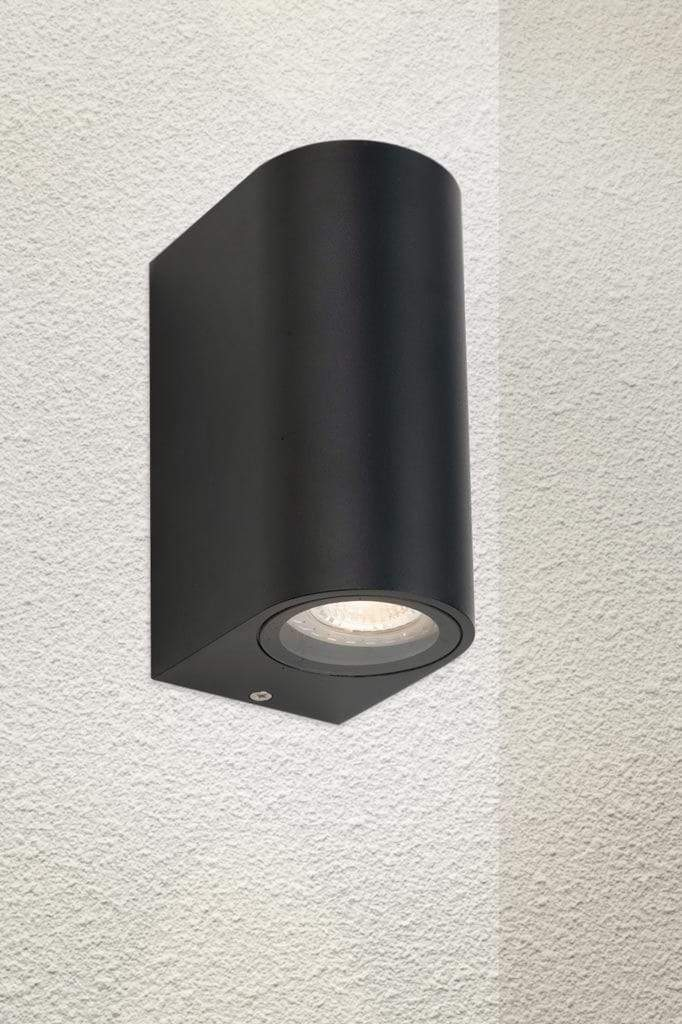 Outdoor up down wall light with black finish