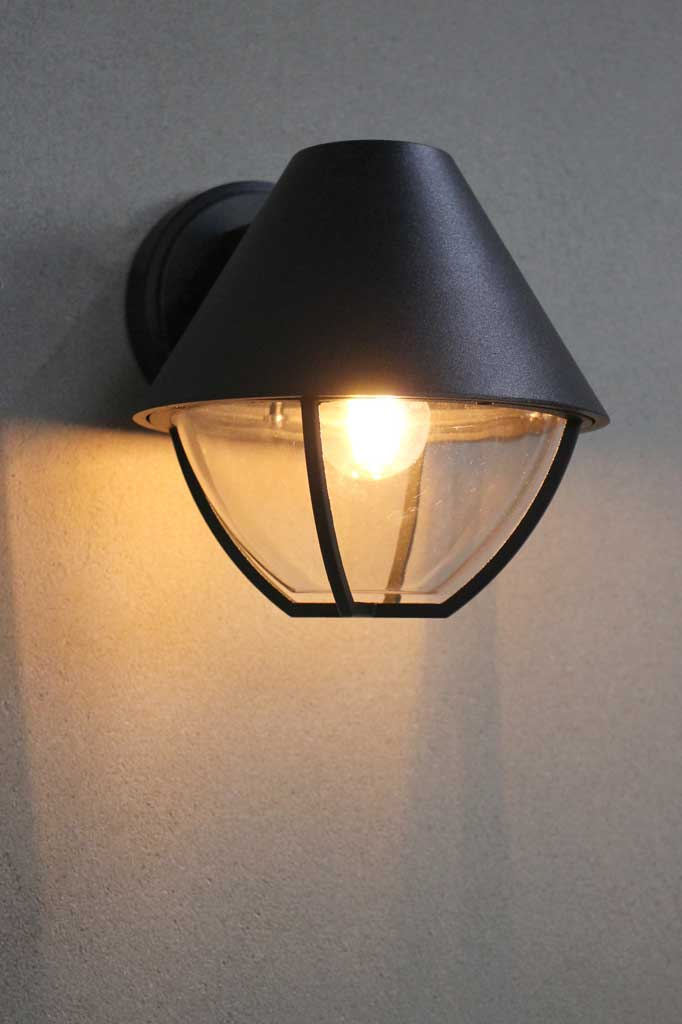 Outdoor wall light with cage