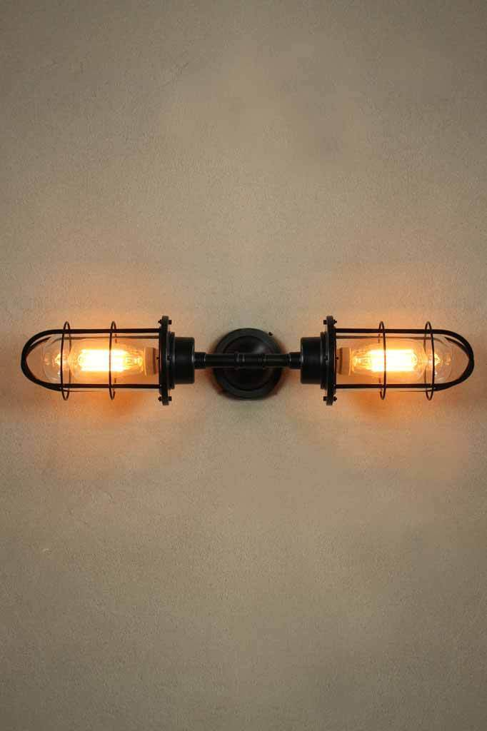 Outdoor double bunker wall light with steel glass and cage. outdoor