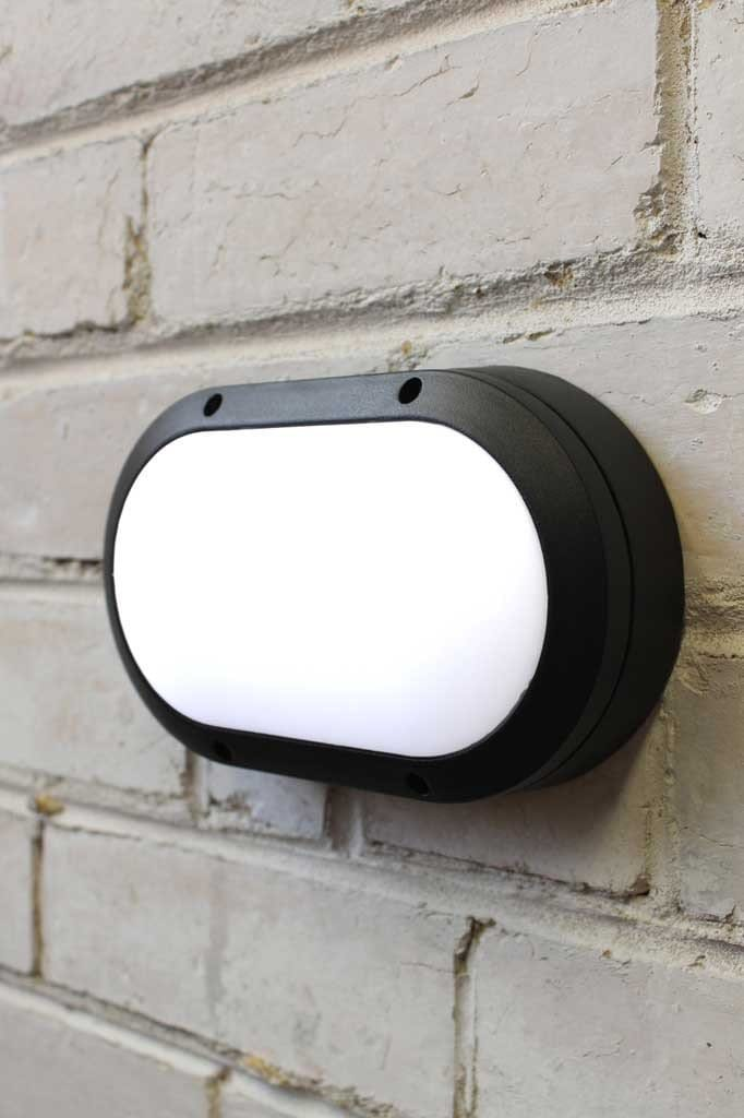Oval outdoor wall lights with plastic diffuser