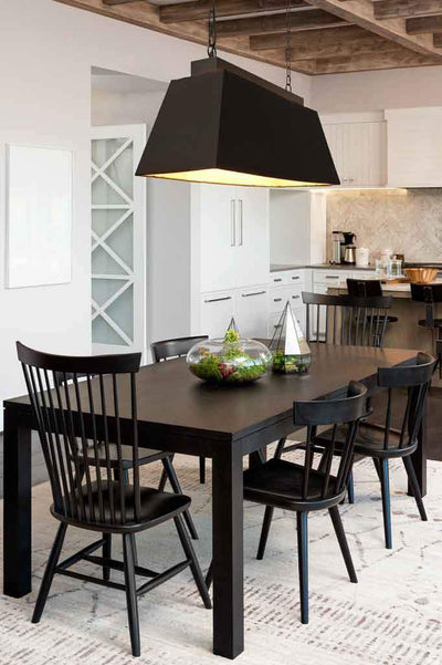 Large rectangle fabric pendant in black. Provincial style. Chain suspension. Hang oversized pendant in kitchen above island bench, dining table.