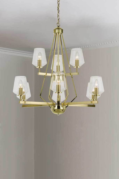 P463 9 light pendant brass pendand light brass lighting