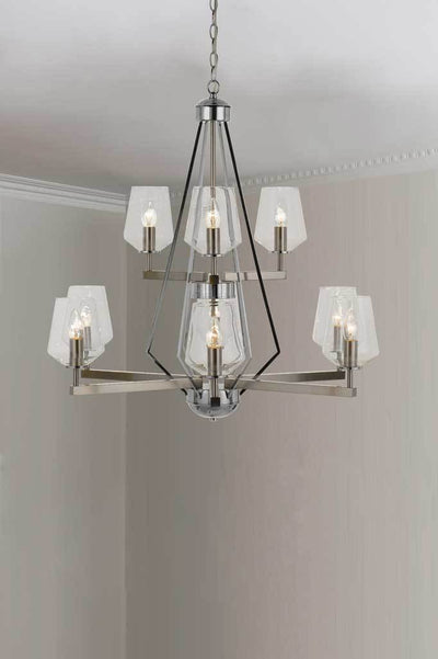 P463 9 light pendant nickel pendand light nickel lighting