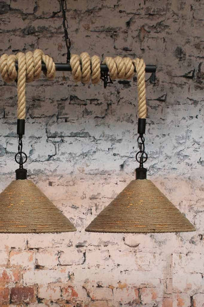 linen rope shade with rope and rod suspension