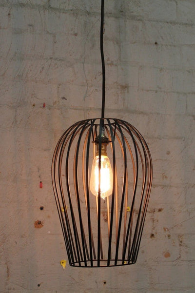Wire cage light on pendant cord