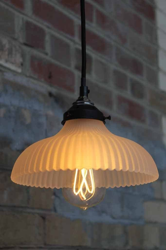 Paris frosted glass pendant with the cross loop led soft filament light bulb
