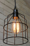Pendant cage light in black with black pendant cord