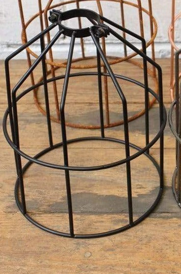 Pendant cage light shades available in four finishes black rust copper and antique brass