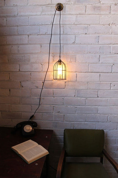 Pendant light cord inline switch and wall plug with round cage shade