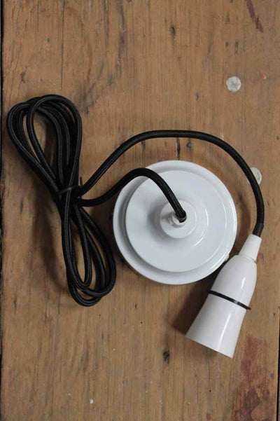 Pendant light cord kit is a 1.8 meter cord available in black and white cord and ceiling rose combinations