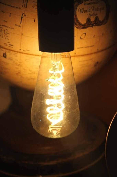 Pipe lamp with spiral led light bulb