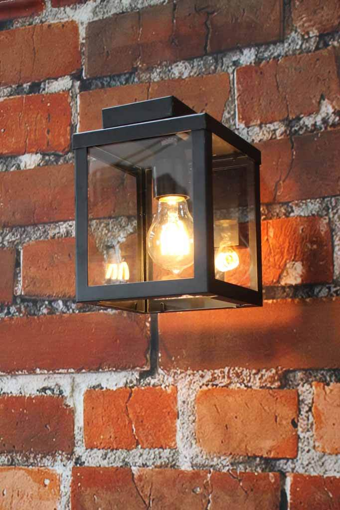 Place this wall light in an residential entry way porch  on an undercover outdoor feature wall or in a beer garden area