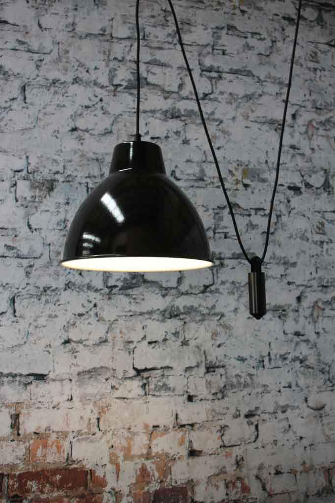 Black shade on pulley pendant