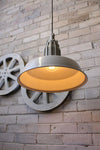 Pumphouse pendant light with edison bulb