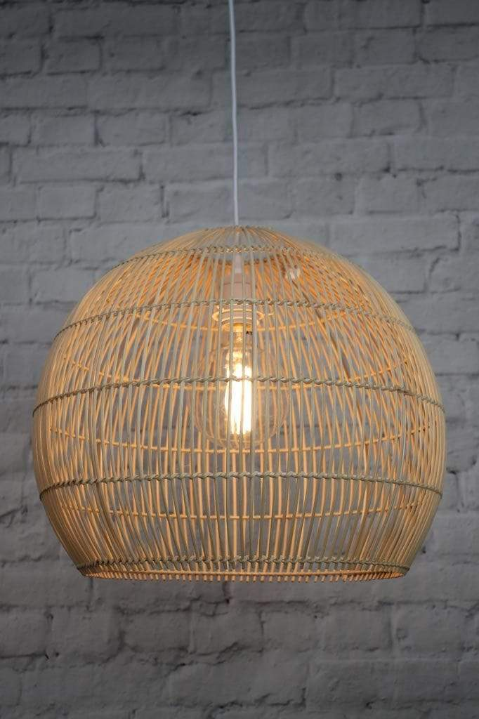 Rattan pendant light with real cane and natural finish