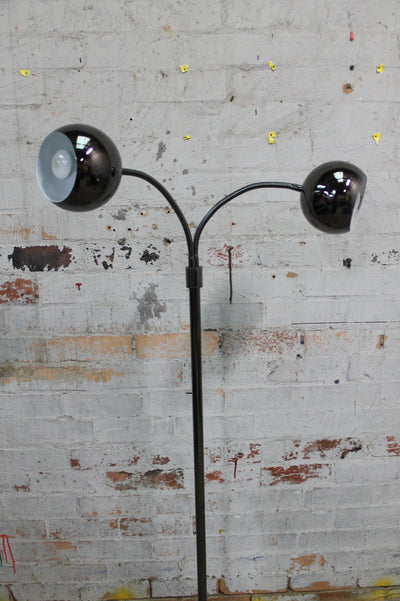 Retro style floor lamp in gunmetal grey