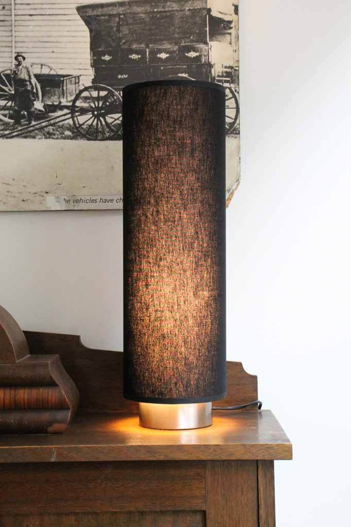 Retro table lamp. black or natural fabric lights.