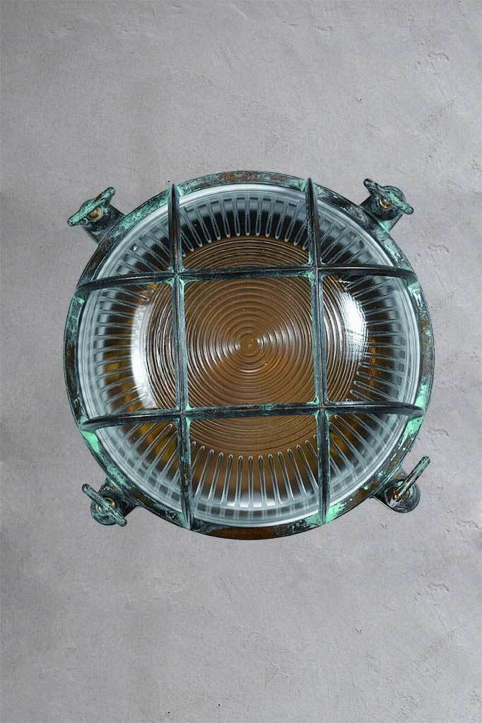 Rita round bunker light with industrial vintage exposed cage look and verdigris effect