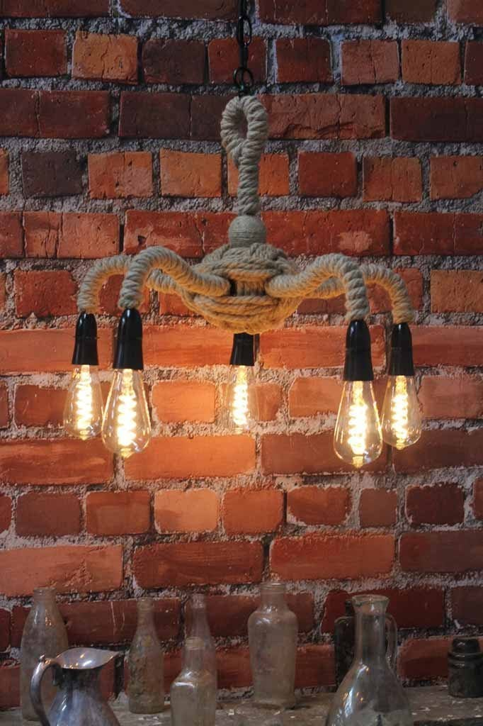 5 Light Pendant - Rope Gooseneck