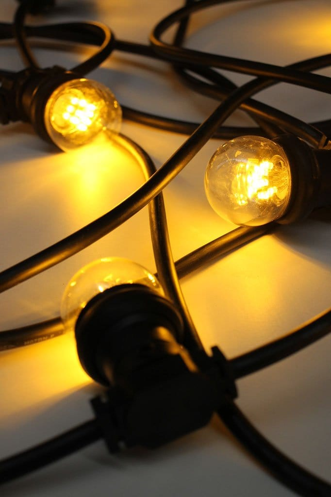 Weather resistant festoon lights with flat cable on