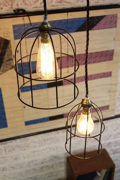 Round cage lights in black paired