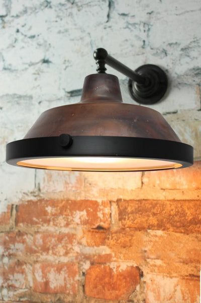 Rustic copper farmhouse wall light with glass cover
