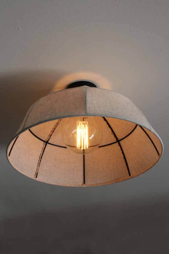 Rustic flush mount light. linen shade lighting. natural style light