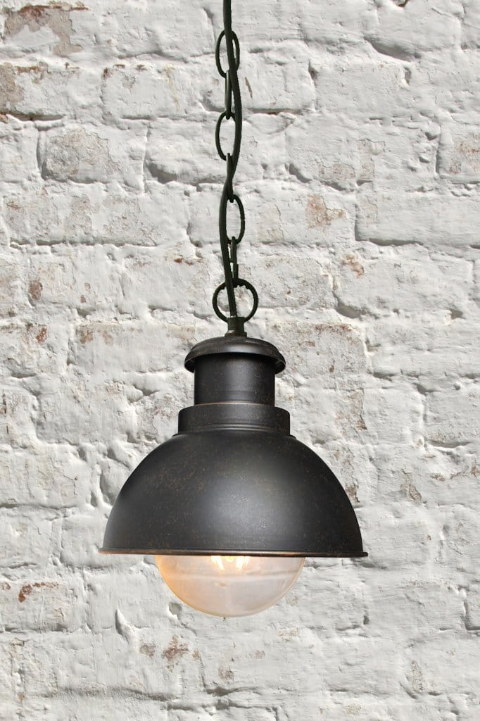 Rustic urban pendant light. hanging chain ceiling pendant.