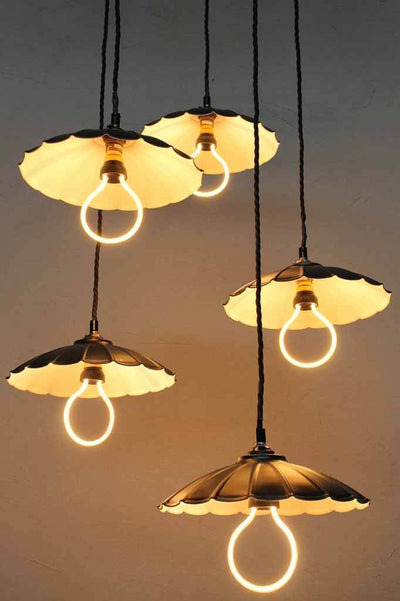 Scalloped umbrella pendants. online lighting.