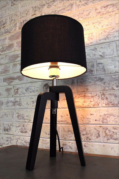 Scandinavian tripod lamp fabric shade and black wooden base