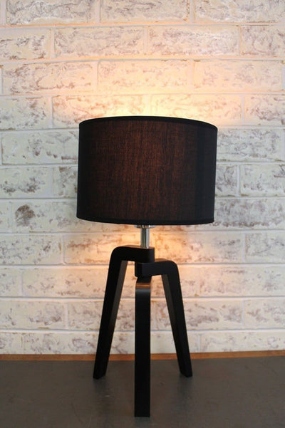 Scandinavian tripod lamp fabric shade in black