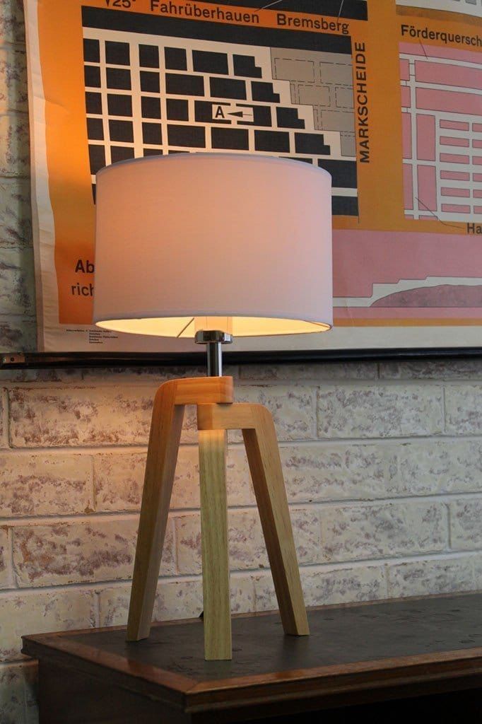 Wooden Tripod Lamp - Fabric Shade