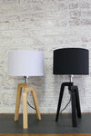 Scandinavian tripod lamp fabric shades in black and white